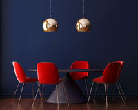 Wewnętrzny art deco z lampą i stołem 3D rendering, 3D ilustracja Zdjęcie Royalty Free