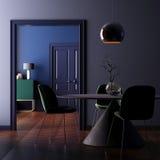 Wewnętrzny art deco z lampą i stołem 3D rendering, 3D ilustracja Obrazy Stock