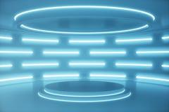 Wewnętrzny błękitny futurystyczny tło, fantastyka naukowa wnętrza pojęcie Pusty wnętrze z neonowych świateł 3D ilustracją fotografia stock