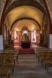 Wewnętrzny chórowy widok St Peter i St Paul kościół w Echternach stary miasteczko w Luksemburg zdjęcia stock
