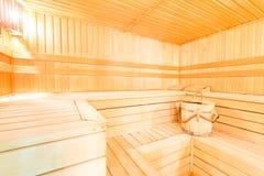 Wewnętrzny drewniany suchy sauna obraz stock