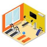 Wewnętrzny Gym z ćwiczenia wyposażenia Isometric widokiem wektor ilustracja wektor