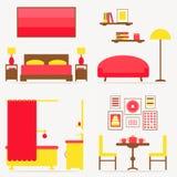 Wewnętrzny izbowy projekta set ilustracji