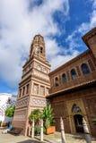 Wewnętrzny jard tradycyjna Hiszpańska wioska Poble Espanyol z kawiarniami i prezentów sklepami obraz royalty free