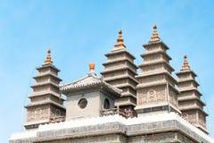 WEWNĘTRZNY MONGOLIA CHINY, Aug, - 13 2015: Pięć pagód świątynia (Wutasi) Obraz Royalty Free