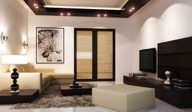 Wewnętrzny nowożytny żywy pokój Zdjęcia Royalty Free