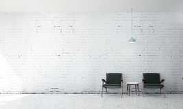 Wewnętrzny projekt żywy pokój i biały ściana z cegieł tło Obraz Stock