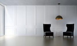 Wewnętrzny projekt holów krzesła i żywy biel pokoju i białego izolujemy tekstury lampę i tło Fotografia Royalty Free