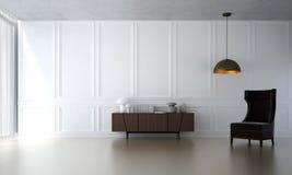 Wewnętrzny projekt holów krzesła i żywy biel pokoju i białego izolujemy tekstury tło Zdjęcie Stock