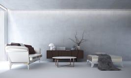 Wewnętrzny projekt hol i żywy betonowej ściany tekstury tło pokoju i białego Zdjęcia Royalty Free