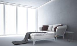 Wewnętrzny projekt hol i żywy betonowej ściany tekstury tło pokoju i białego Obrazy Stock