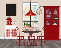 Wewnętrzny projekt kawiarnia, kuchnia, jadalnia w retro stylu Wektorowa płaska ilustracja Odosobneni wektorów przedmioty Zdjęcie Royalty Free