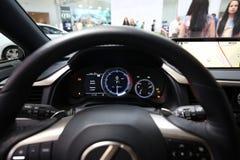 Wewnętrzny projekt Lexus NX 300h wystawiający przy 3rd wydaniem MOTO przedstawienie w Krakowskim Polska obrazy royalty free