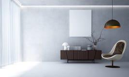 Wewnętrzny projekt nowożytny żywy pokoju i betonowej ściany tło Zdjęcia Stock