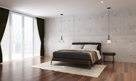 Wewnętrzny projekt nowożytny sypialni i betonowej ściany tło Obraz Stock