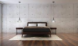 Wewnętrzny projekt nowożytny sypialni i betonowej ściany tło Fotografia Royalty Free