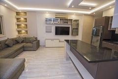 Wewnętrzny projekt otwartego planu luksusowego mieszkania żywy pokój obrazy royalty free