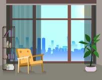 Wewnętrzny projekt wielki pokój z mansardowym stylem Pokój z wielkim okno i piękny widok od okno ilustracji