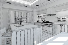 Wewnętrzny rendering nowożytna kuchnia ilustracji