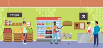 Wewnętrzny supermarketa sklep z ludźmi charakter nabywca i kasjera royalty ilustracja