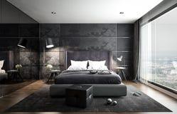 Wewnętrzny sypialnia egzamin próbny, czarny nowożytny styl, 3D rendering, 3D ja fotografia royalty free