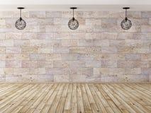 Wewnętrzny tło z trzy 3d lamp renderingiem Obraz Stock