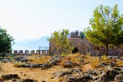 Wewnętrzny terytorium Alanya kasztel blisko obserwacja pokładu Alanya, Turcja Fotografia Stock