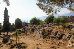 Wewnętrzny terytorium Alanya kasztel blisko obserwacja pokładu Alanya, Turcja Obrazy Stock