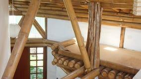 Wewnętrzny widok dom robić z strukturą bambusowi bagażniki Zdjęcia Stock
