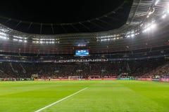 Wewnętrzny widok pełny BayArena stadium podczas UEFA czempionu Zdjęcie Stock