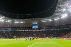 Wewnętrzny widok pełny BayArena stadium podczas UEFA czempionu Obraz Royalty Free