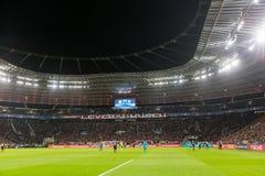 Wewnętrzny widok pełny BayArena stadium podczas UEFA czempionu Obraz Stock
