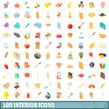 100 wewnętrznych ikon ustawiających, kreskówka styl Obraz Royalty Free