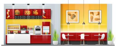 Wewnętrzna scena nowożytna fast food restauracja z kontuarem, stołami i krzesłami, royalty ilustracja