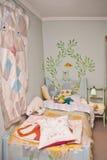 wewnętrzna sypialni gablota wystawowa fotografia royalty free