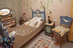 wewnętrzna sypialni gablota wystawowa zdjęcia stock