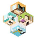 Wewnętrzni pokoje dom Isometric widok wektor Obraz Stock