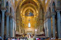 wewnętrzny Di monreale Duomo Italy Sicily Obrazy Stock