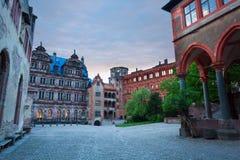 Wewnętrzny kwadrat Schloss Heidelberg podczas wieczór Zdjęcie Stock