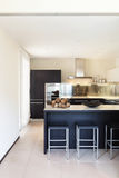 Wewnętrzny luksusowy mieszkanie, kuchnia Zdjęcia Royalty Free
