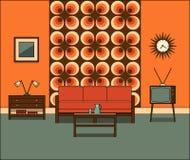 wewnętrzny retro pokój Liniowa wektorowa ilustracja Fotografia Stock
