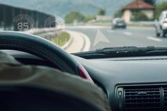 Wewnętrzny samochodowy kokpitu hud pokaz Zdjęcia Royalty Free