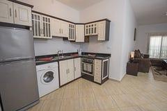 Wewnętrzny wystroju projekt kuchnia w przedstawienie domu mieszkaniu Fotografia Stock