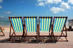 weymouth рядка deckchairs пляжа цветастое Стоковое Изображение RF
