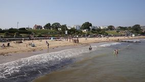 Weymouth beach Dorset UK in late summer popular tourist destination on the south coast stock video footage