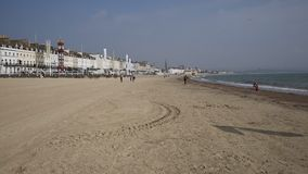 Weymouth beach Dorset UK in late summer with sand and waves stock footage