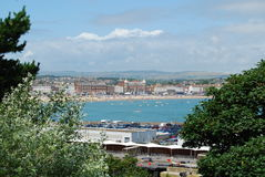 Weymouth Esplanade. With Dorset hills beyond from Nothe Fort Stock Photo