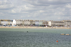 Weymouth Esplanade from the Sea. View from a boat of the beach and esplanade of the seaside resort of Weymouth, Dorset Royalty Free Stock Photography