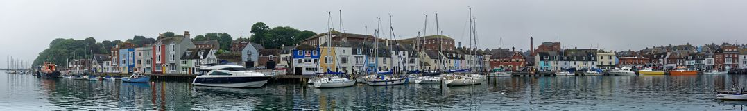 Weymouth-Hafen-Panorama Stockfoto