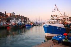 Weymouth hamn i Dorset Arkivfoton